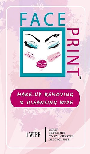 Face Print Make Up Removing Cleansing Wipe- 24 Individually Wrapped Wipes