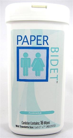 Paper Bidet Personal wipes -  2 x 16 Wipe Canister