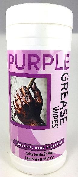 Purple Grease Wipes Industrial Grease Remover - 25 Wipe Canister