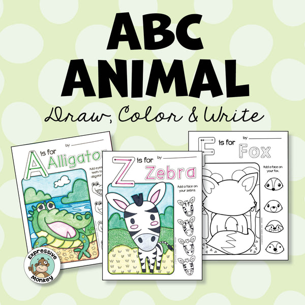 ABC Animal Draw, Color & Write - Finish the Picture