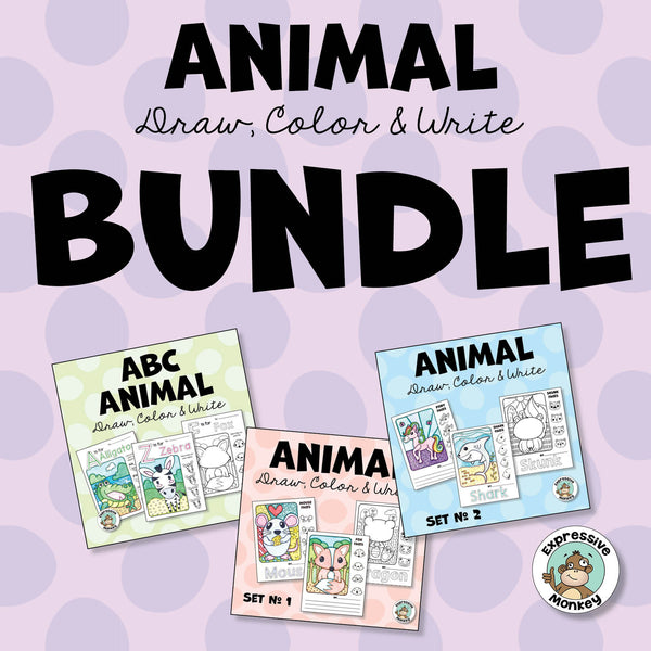 Animal Draw, Color & Write BUNDLE