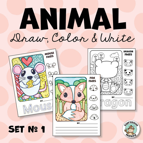 Animal Draw, Color & Write - Finish the Drawing Pages