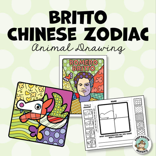 Chinese Zodiac Animals Drawing in the Style of Romero Britto