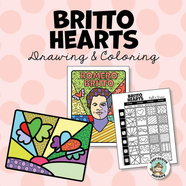 Romero Britto Valentine Heart Art Activity