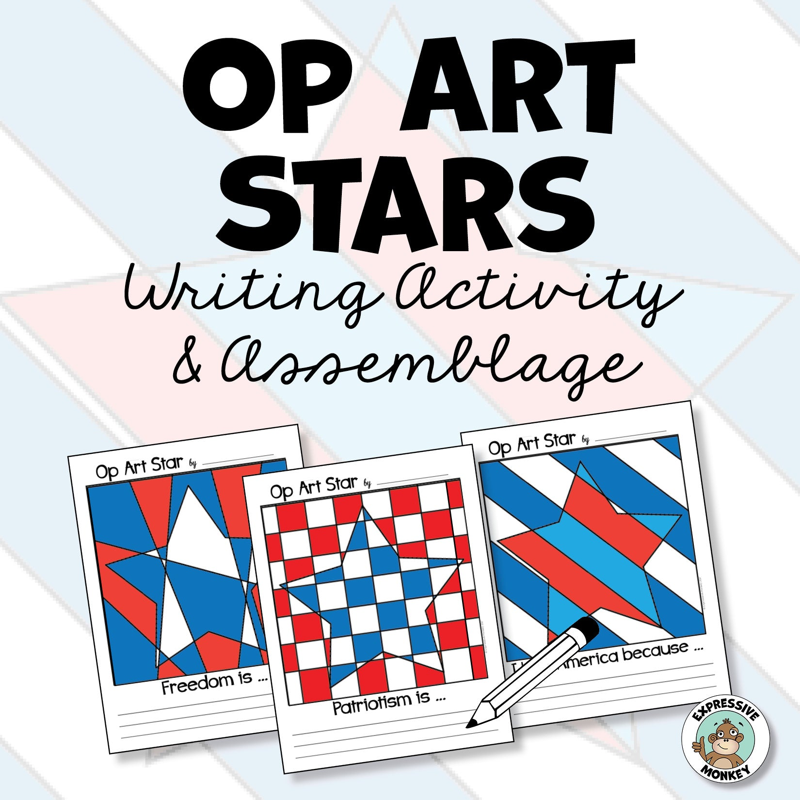 Op Art Stars & Stripes Writing Pages & Assemblage