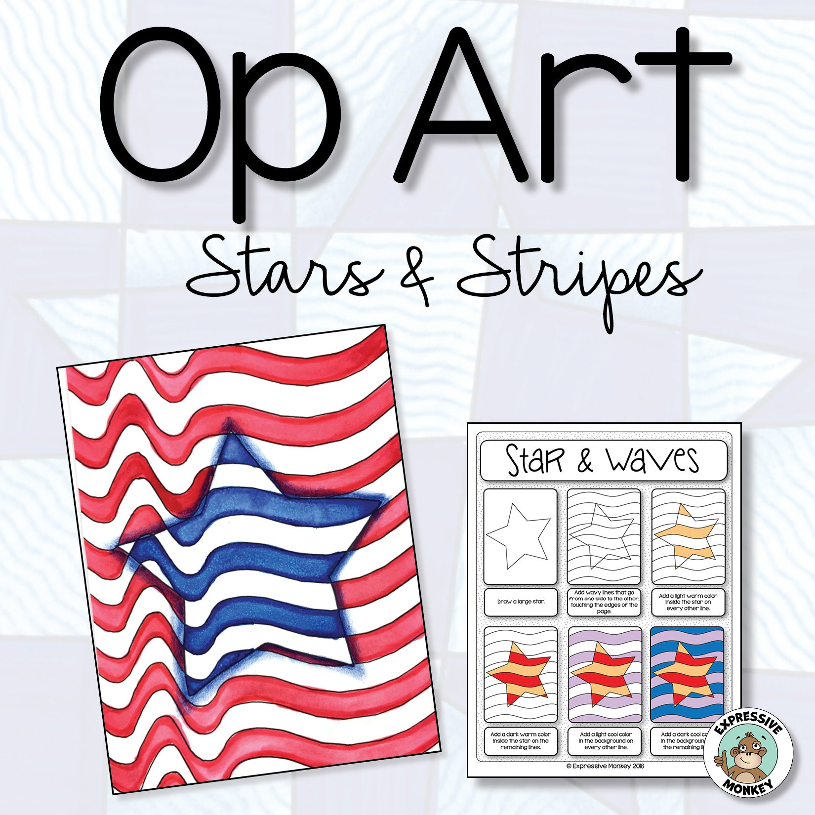 Op Art Stars & Stripes: Patriotic Art Activity
