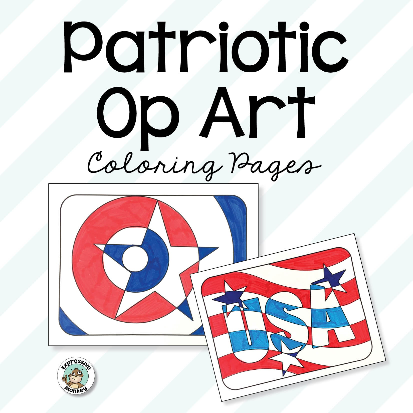 Patriotic Coloring Pages with Op Art