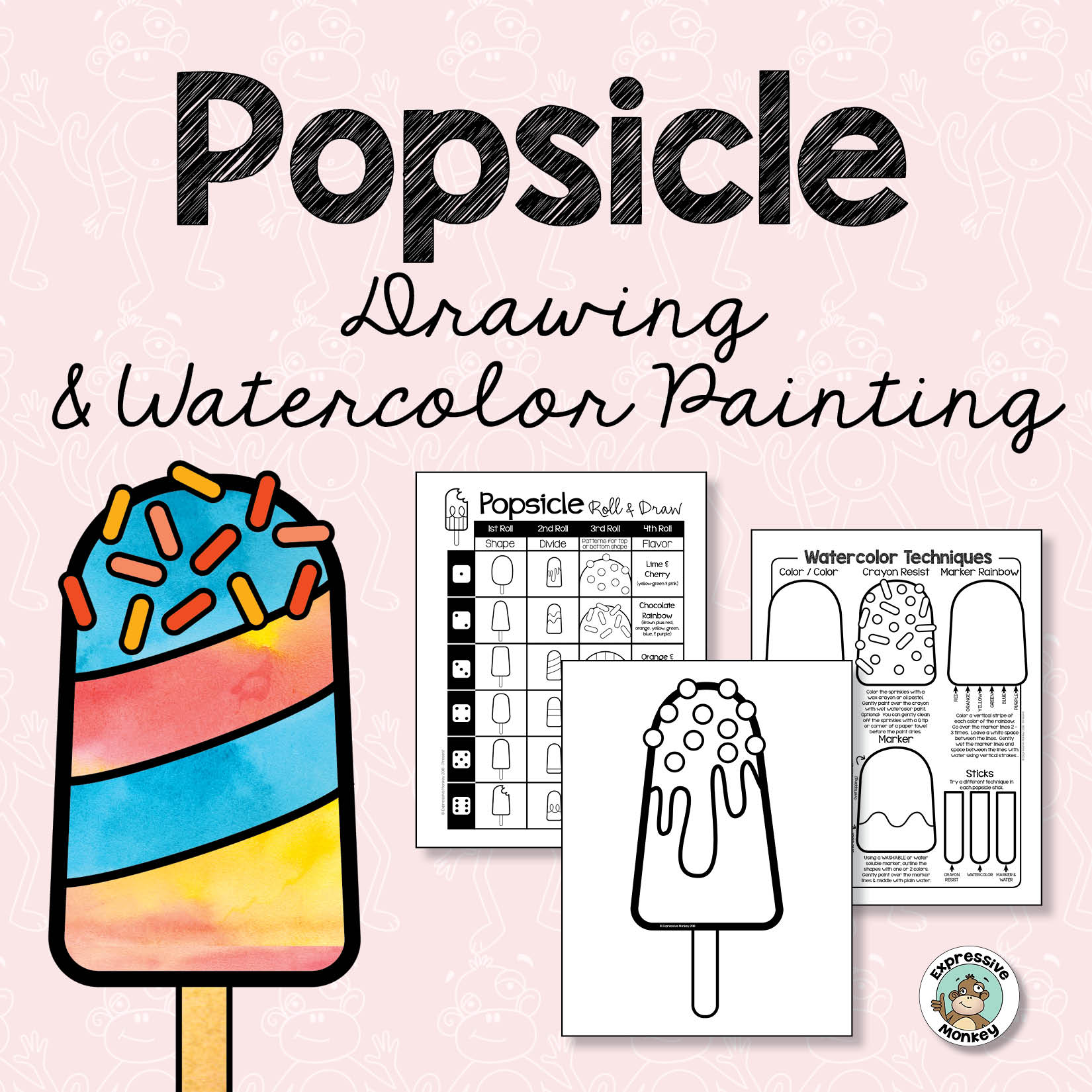 Popsicle Drawing & Watercolor Painting