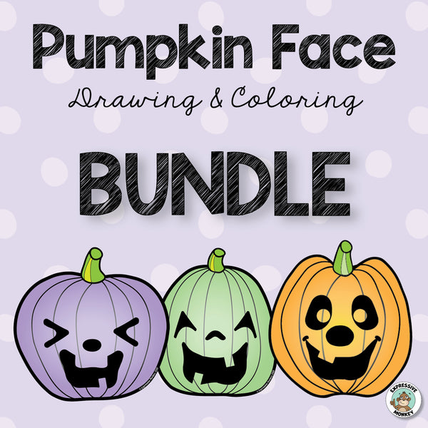Pumpkin Face Drawing & Coloring BUNDLE