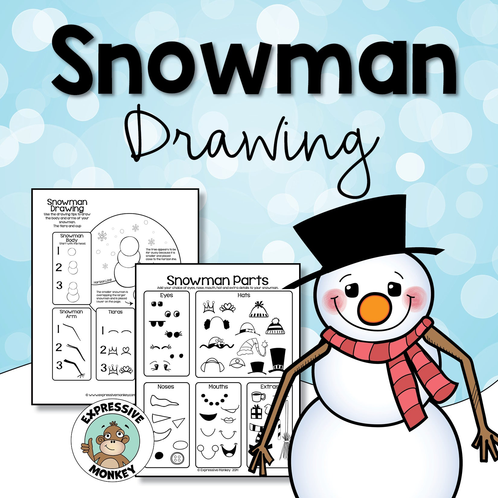 Snowman Drawing  - Winter Art Activity