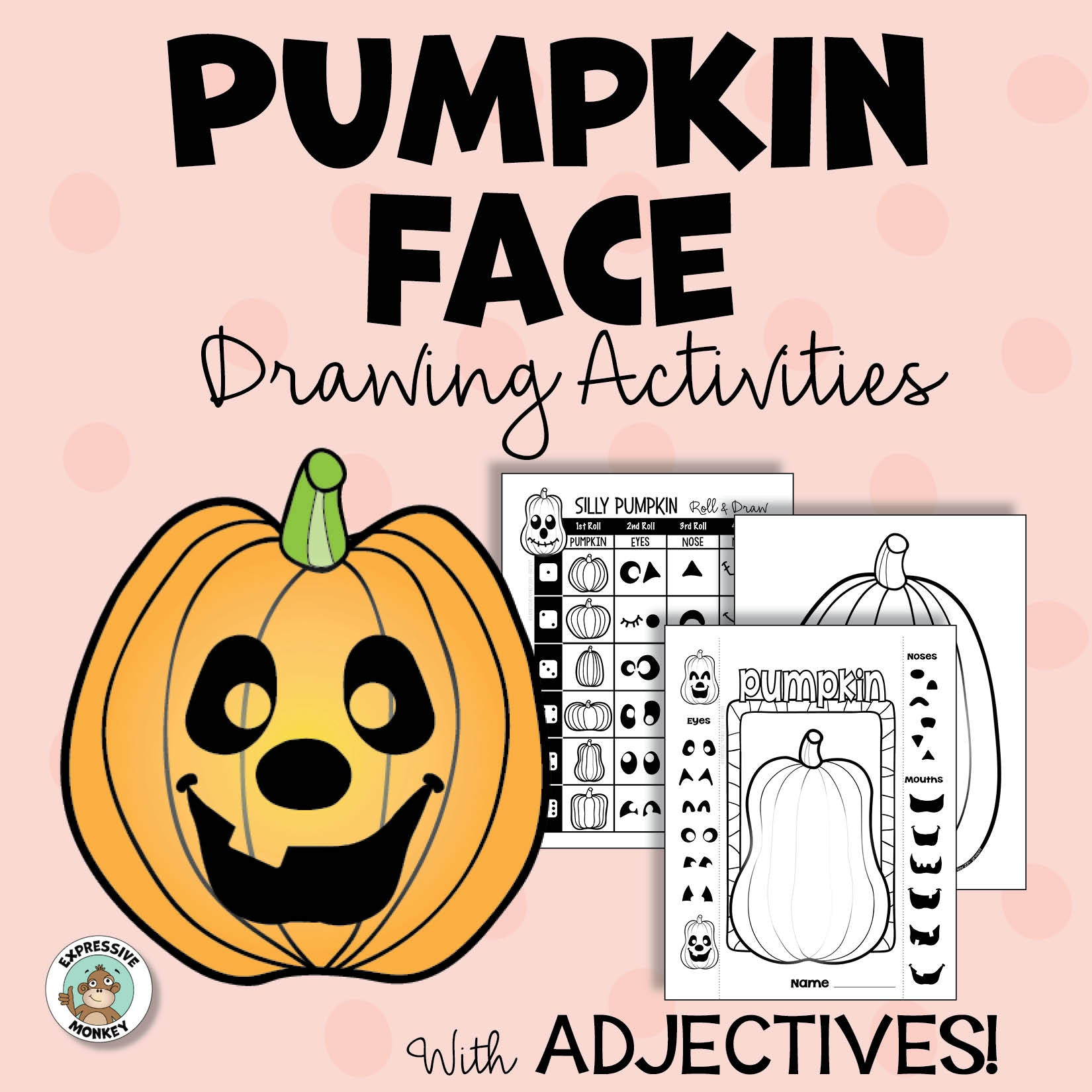 Halloween Activity Jack O Lantern Drawing Art Project Expressive Monkey