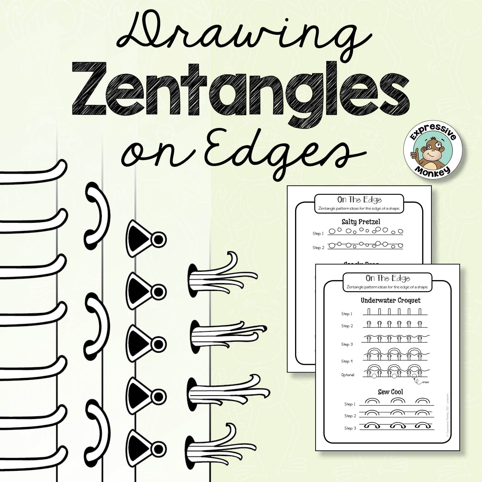 Drawing Zentangles on Edges Step by Step