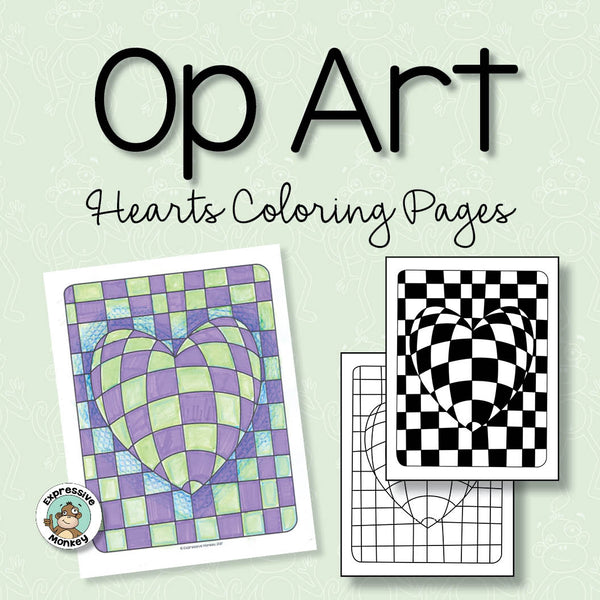 Op Art Hearts Coloring Pages | Expressive Monkey