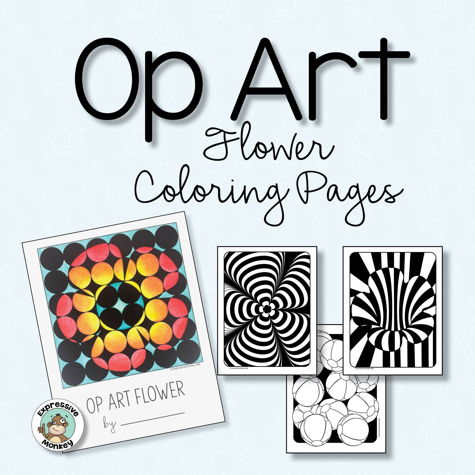 Op Art Flowers Coloring Pages