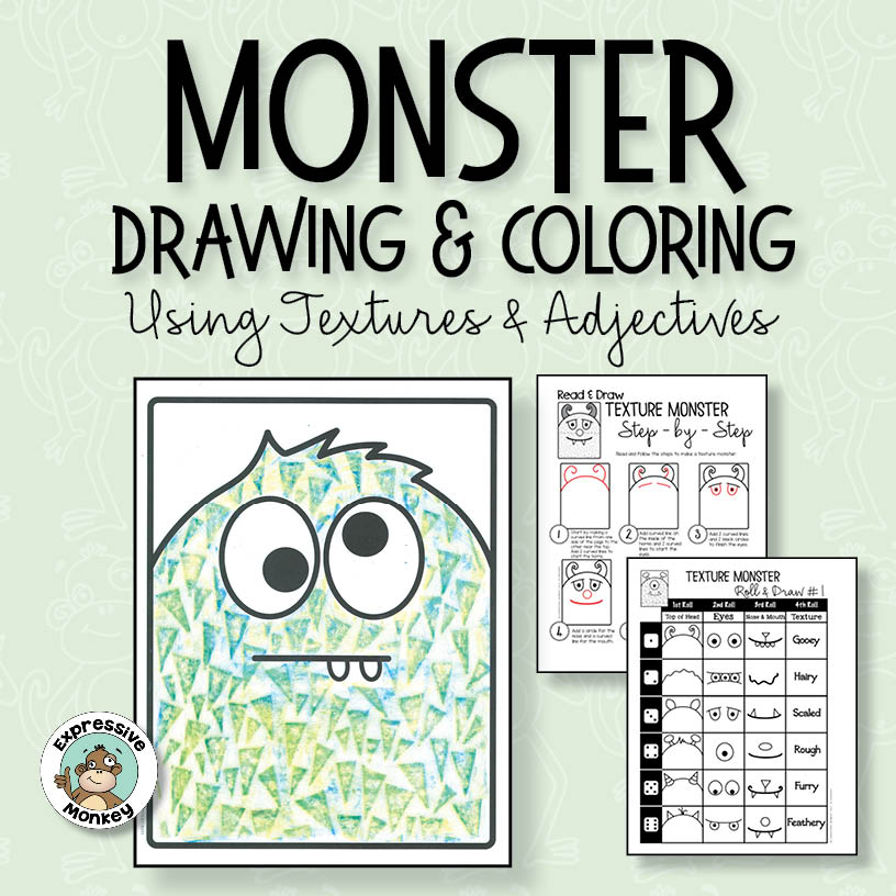 Monster Drawing & Coloring using Textures & Adjectives