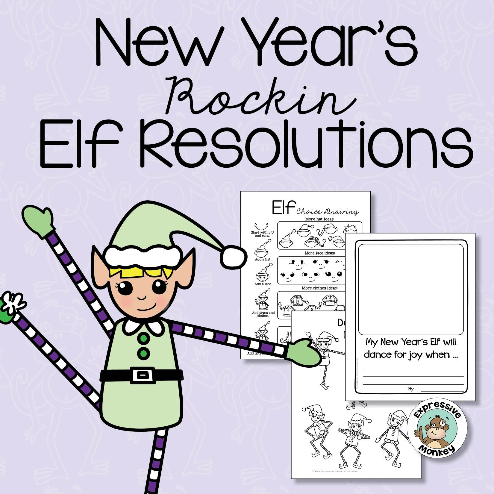 New Year's Resolution Writing & Dancing Elf Drawing