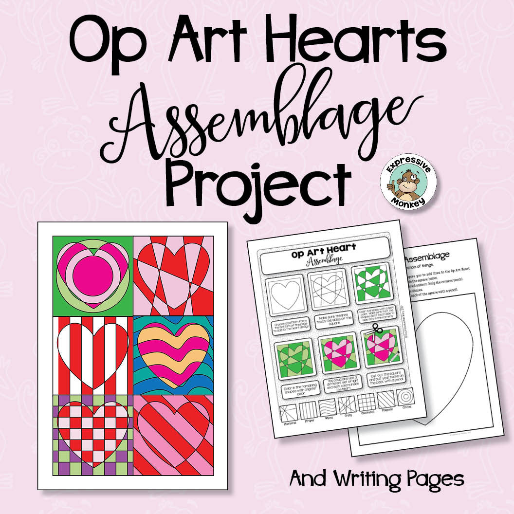 Op Art Hearts Assemblage Class Project and Writing Pages