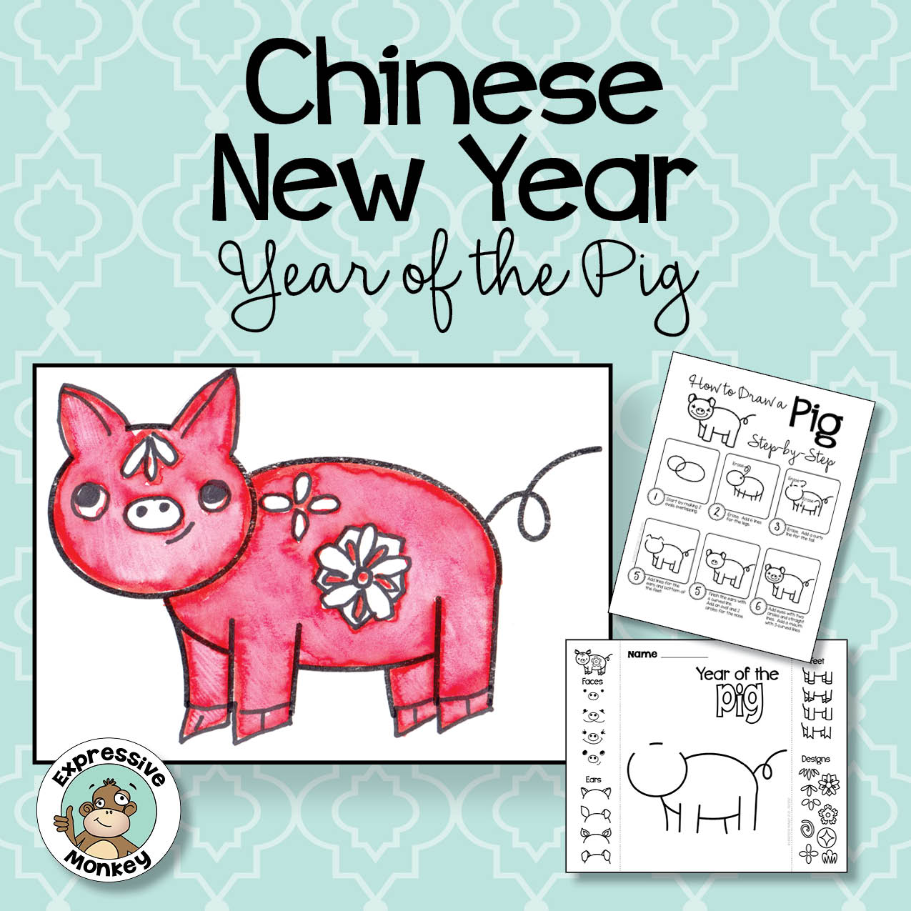 Chinese New Year Drawing: Year of the Pig Art Activity