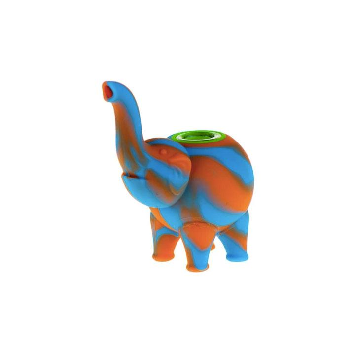 Silicone Mini Elephant Blue/Orange
