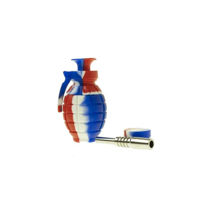 Silicone Nectar Collector Grenade w/ 14mm Titanium Nail Red White Blue