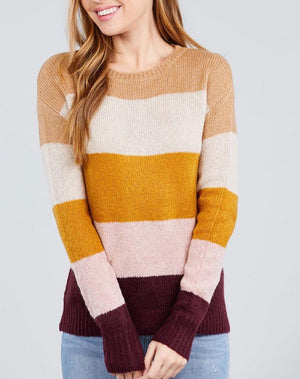 Kathrine Color Stripe Rib Knit Sweater