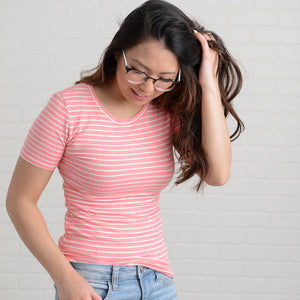 Amara Striped Ribbed Tee