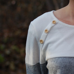 Anna Two-Tone Button Detail Pullover
