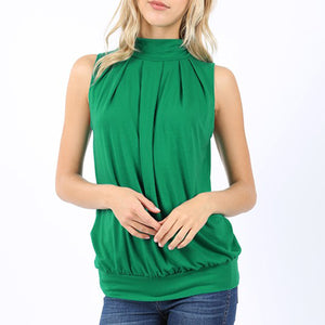 Bridgett Sleeveless Pleated Top