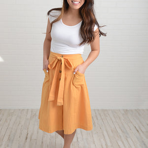 ECC - Brooklyn Button-Front Tie-Waist Skirt