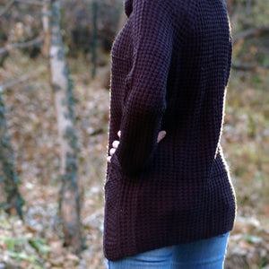 Brena Waffle-Stitch Cowlneck Pullover