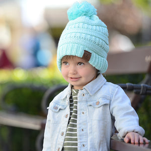 Kids CC Beanie with Pom - Aqua
