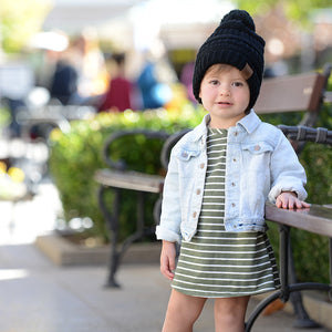 Kids CC Beanie with Pom - Black