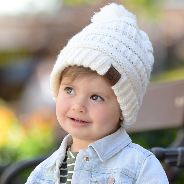 Kids CC Beanie with Pom - Cream