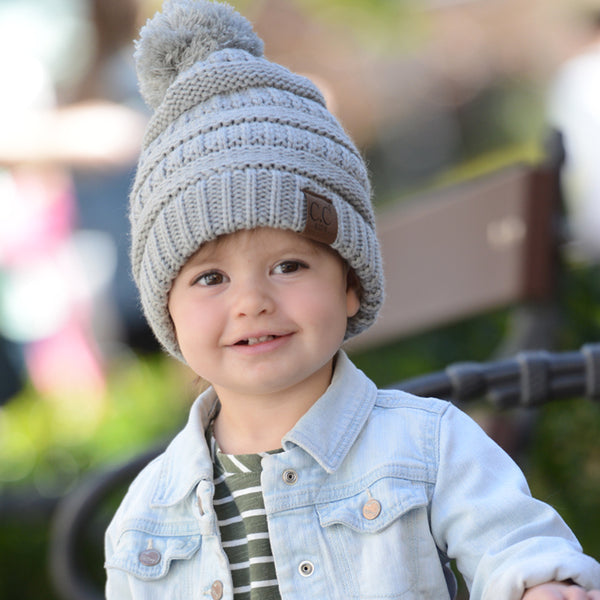 Kids CC Beanie with Pom - Grey/Gray