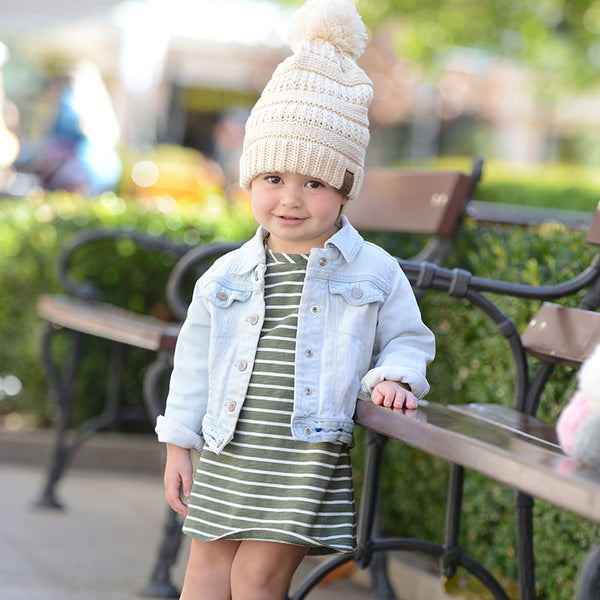 Kids CC Beanie with pom - Khaki