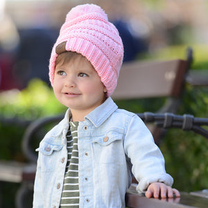 Kids CC Beanie with Pom - Light Pink