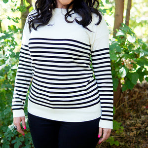 Chelsea Elbow-Patch Striped Sweater