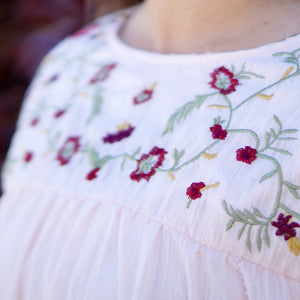 Rachel Embroidered Midi Yoke Dress