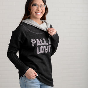 The Fall In Love Graphic Cowl Neck Hoodie
