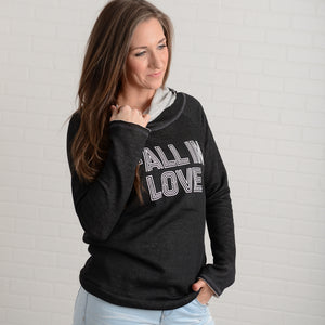 Fall In Love Graphic Cowl Neck Hoodie