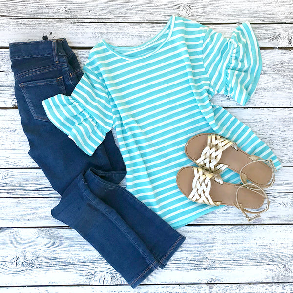 Kids: The Hailey Striped Ruffle Sleeve Top