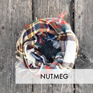 Kids Infinity Scarf Plaid Grey Plum Mustard
