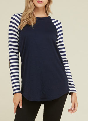 Plus Size - Janie Elbow Patch Stripe Raglan Top