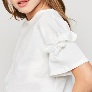 Kids: The Kelsey Bow Sleeve Tee - White
