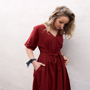 ECC - Kenna Waist-Tie Surplice Dress