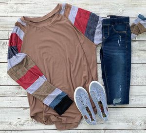 Piper Color Block Long Sleeve Pullover Top