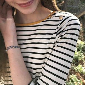 Stripe Top Girls Tweens Cream with Black stripes mustard