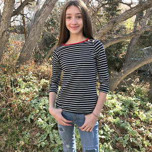 Stripe Top Girls Tweens Navy Red