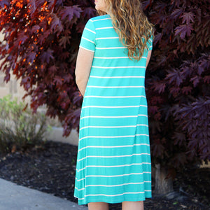 Kandi Short Sleeve Striped Tee Dress