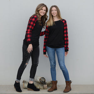 Timber Buffalo Plaid Raglan Sweater